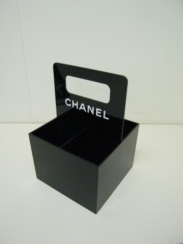 black acrylic make up caddy with chanel logo
